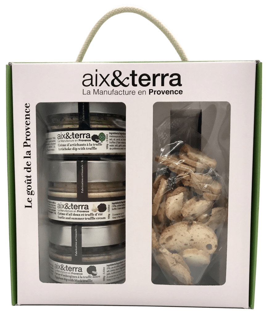 Boxed set of three truffle aperitifs and organic toast